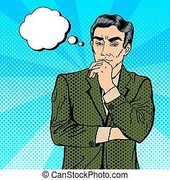 decisão, pensativo, making., estouro, businessman., incerteza, arte