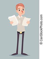 decisão, personagem, ilustração, escolha, vetorial, desenho, retro, fazer, homem negócios, caricatura, ícone