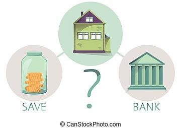 decisão, poupar, obtendo, banco casa, comparando, vetorial, empréstimo, dinheiro, ir, fazer, salvar, propriedade, ou, comprando