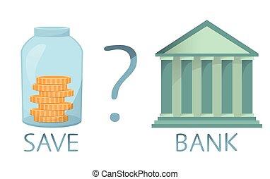 decisão, poupar, obtendo, banco dinheiro, comparando, vetorial, empréstimo, ir, fazer, salvar, ou