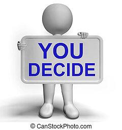 decisões, decisão, incerteza, sinal, fazer, representando