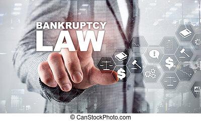 decisión, concept., empresa / negocio, abogado, fondo., quiebra, insolvencia, law., ley, medios, financiero, mezclado, judicial