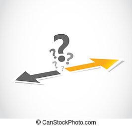 decisión, concepto, flecha, opción
