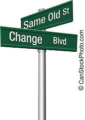 decisión, elegir, mismo, viejo, calle, o, cambio