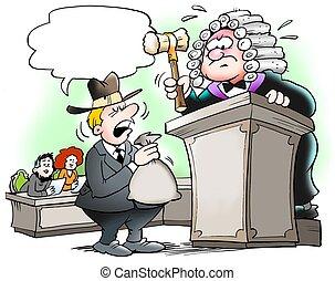 decisión, en, un, actos judiciales