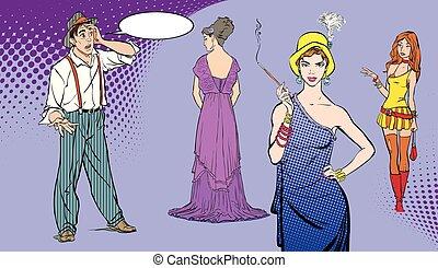 decision., スタイル, 芸術, illustration., 人々, boy., woman., ポンとはじけなさい, choice., レトロ, 選択, 顔, 人, 困難, style., 驚かされる, 人