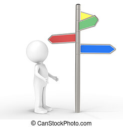 Decision - 3D human standing infront of a Signpost. Internet...