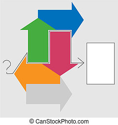 Decision Arrows Question Answer - Puzzled? Arrows point to a...