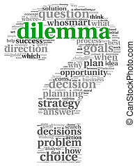 Decision concept in tag cloud - Dilemma and decision making...