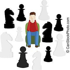 decision., concept, zakelijk, metaphors., beslissing, kies, steegjes, moeilijk