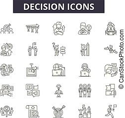Decision line icons, signs set, vector. Decision outline concept, illustration: decision, business, direction, choice, way, solution
