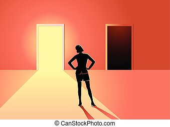 Business concept illustration of a woman in doubt, having to choose between bright or dark door