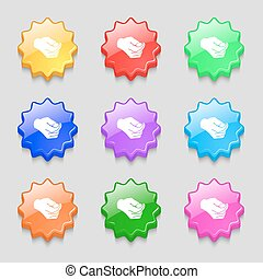 decision making by chance with coin, heads or tails icon sign. symbol on nine wavy colourful buttons. Vector