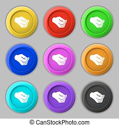 decision making by chance with coin, heads or tails icon sign. symbol on nine round colourful buttons. Vector
