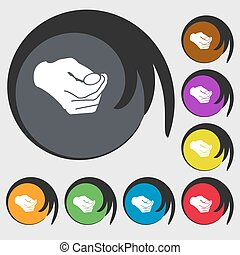 decision making by chance with coin, heads or tails icon. Symbols on eight colored buttons. Vector