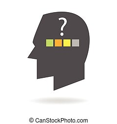 Decision Making - Human head icon with colorful squares and...