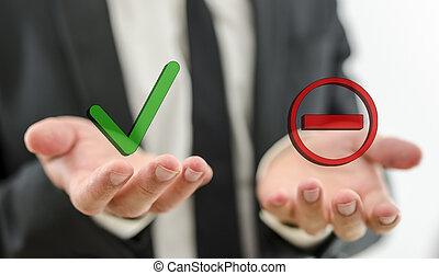 Decision making - Closeup of businessman making decision...