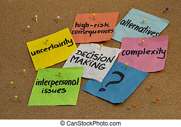 problems in decision making process - uncertainty, alternatives, risk consequences, complexity, personal issues; color notes and pins on cork bulletin board board