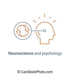 Decision making, obsessive thinking, neuroscience and psychology, bias concept, emotional intelligence, mindset
