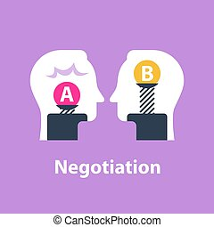 Decision making, outweigh scale, positive or negative, between two sides, negotiation and persuasion
