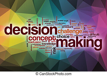 Decision making word cloud with abstract background