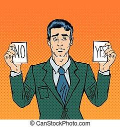 decision., no., tenue, illustration, vecteur, pop, indécis, ...