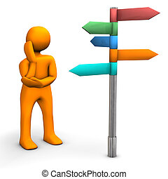 Decision - Orange cartoon character with direction sign. ...