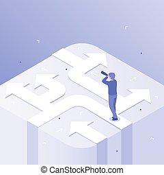 decision., richting, concept, zakelijk, succes, carrière, isometric, illustratie, keuze, wegen, vector, kies, zakenman, besluiten