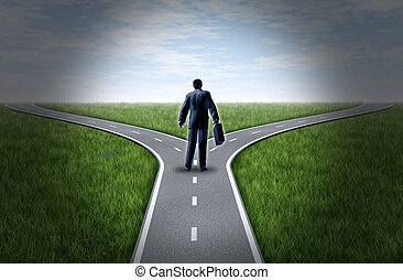 Decision time - Business man at a cross roads standing at a...