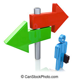 Decision time for a career with a business man at a cross roads and road sign with arrows showing a fork in the road representing the concept of direction when facing two equal or similar options