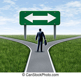 Decision time for a career with a business man at a cross...