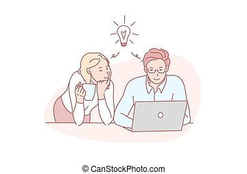 Decision, together, thinking, coworker, concept. Coworkers concentrated on business decision. Colleagues focusing on problem solving together. Common solution thought. Brainstorm simple flat vector.