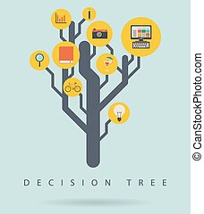 Decision tree infographic diagram with icons, vector illustration