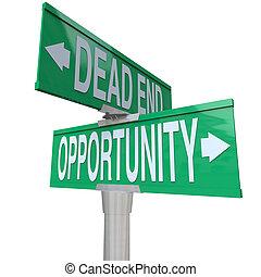 decisione, a, giramento, punto, fine morta, o, opportunità
