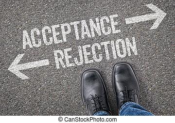 decisione, a, uno, incrocio, -, accettazione, o, rifiuto