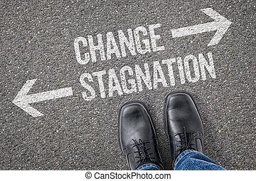 decisione, a, uno, incrocio, -, cambiamento, o, ristagno