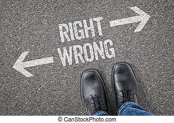 decisione, a, uno, incrocio, -, destra, o, torto