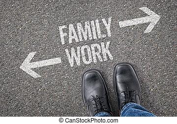 decisione, a, uno, incrocio, -, famiglia, o, lavoro