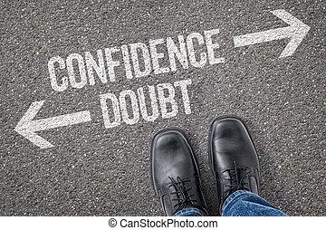 decisione, a, uno, incrocio, -, fiducia, o, dubbio
