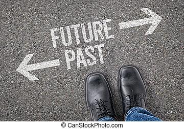 decisione, a, uno, incrocio, -, futuro, o, passato