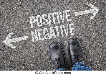 decisione, a, uno, incrocio, -, positivo, o, negativo