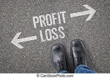 decisione, a, uno, incrocio, -, profitto, o, perdita