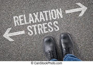 decisione, a, uno, incrocio, -, rilassamento, o, stress