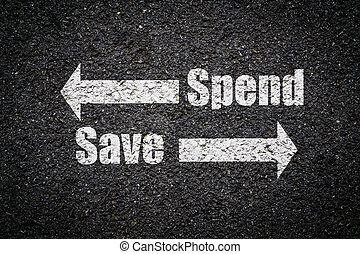 decisione, a, uno, incrocio, -, risparmiare, o, spendere