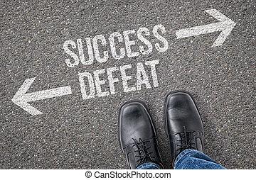 decisione, a, uno, incrocio, -, successo, o, sconfitta