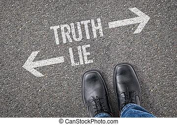 decisione, a, uno, incrocio, -, verità, o, bugia
