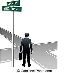 decisione affari, scelta, persona, segnali stradali, futuro