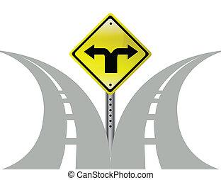 decisione, frecce, direzione, scelta