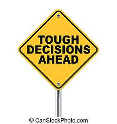 decisiones, tráfico, adelante, duro, señal