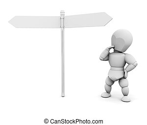 3D render of someone stood below signs deciding which way to go